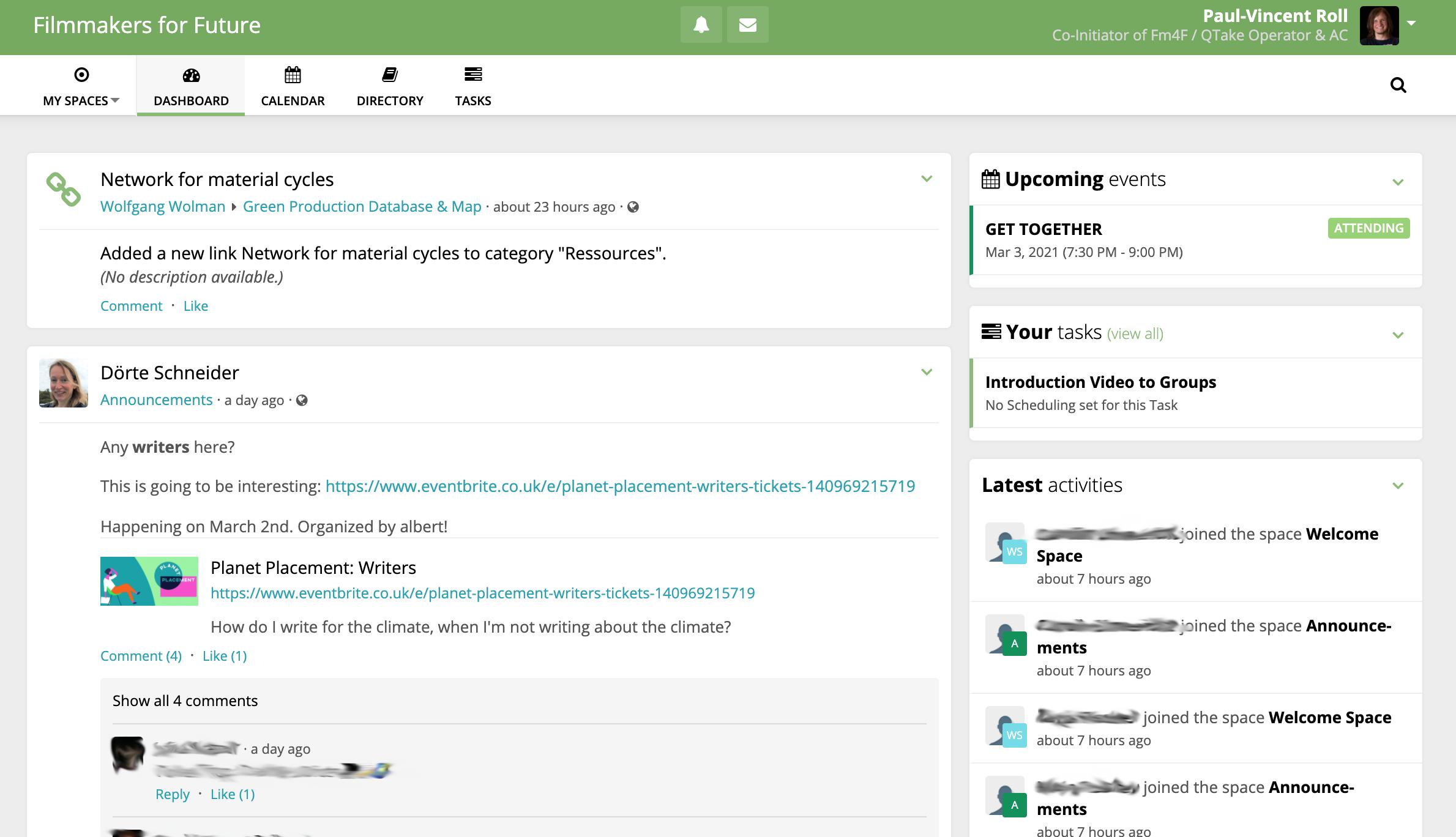 Screenshot of the Groups Platform